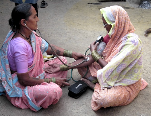 Regular health monitoring for older villagers is a one of the VHW responsibilities.